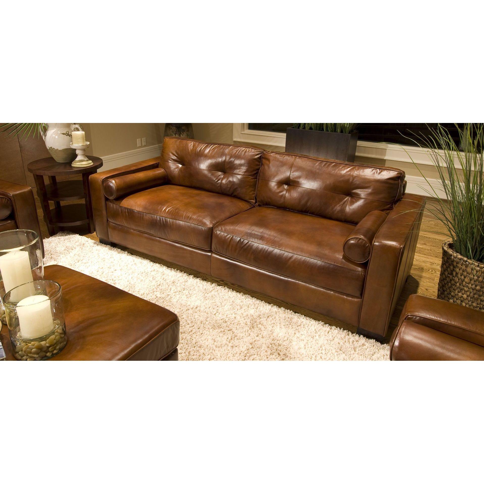 Soho Top Grain Leather Sofa In Rustic