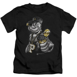Popeye/Get More Spinach Short Sleeve Juvenile Graphic T-Shirt in Black
