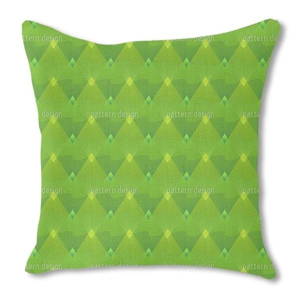 Little Green Lanterns Burlap Pillow Double Sided