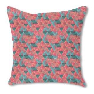 Triangle Mosaic Burlap Pillow Single Sided