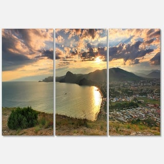 Seashore from Top of the Hill - Modern Seascape Metal Wall At - 36Wx28H