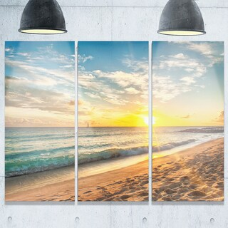 White Beach in Island of Barbados - Modern Seascape Metal Wall At - 36Wx28H