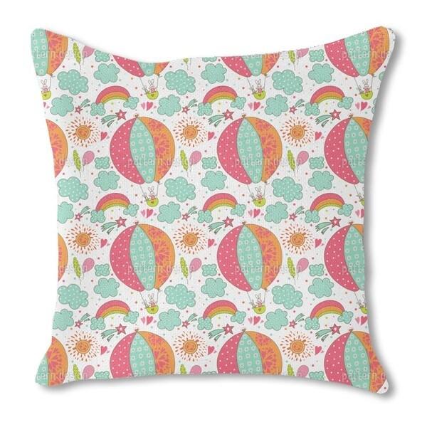 Bunny Balloon Ride Burlap Pillow Single Sided