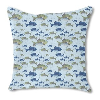 The North Sea Fish Burlap Pillow Double Sided