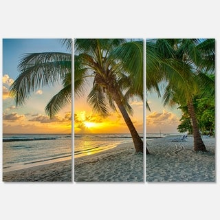 Beach in Caribbean Island of Barbados - Modern Seascape Metal Wall At - 36Wx28H