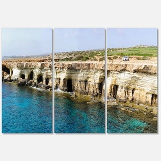 Sea Caves near Cape Greko Panorama - Modern Seascape Metal Wall At - 36Wx28H