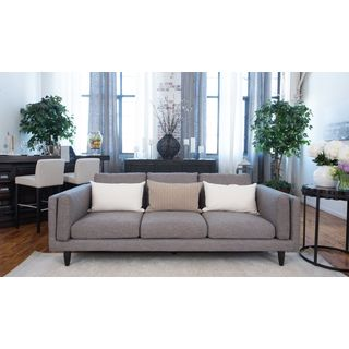 Retro Collection Taupe Fabric/Wood Sofa
