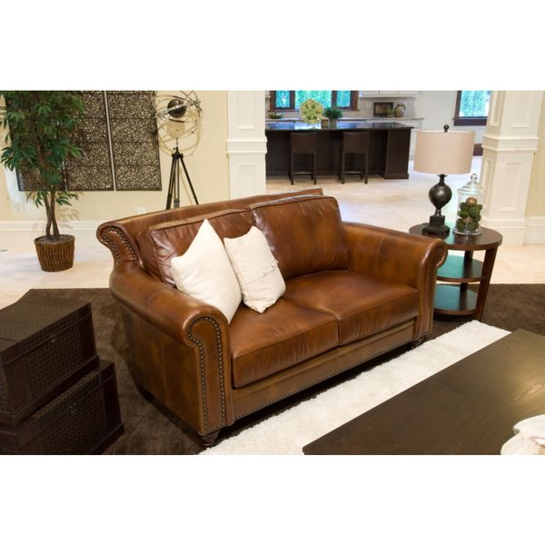 Paladia Top Grain Leather Loveseat In Rustic Free Shipping Today 12687732