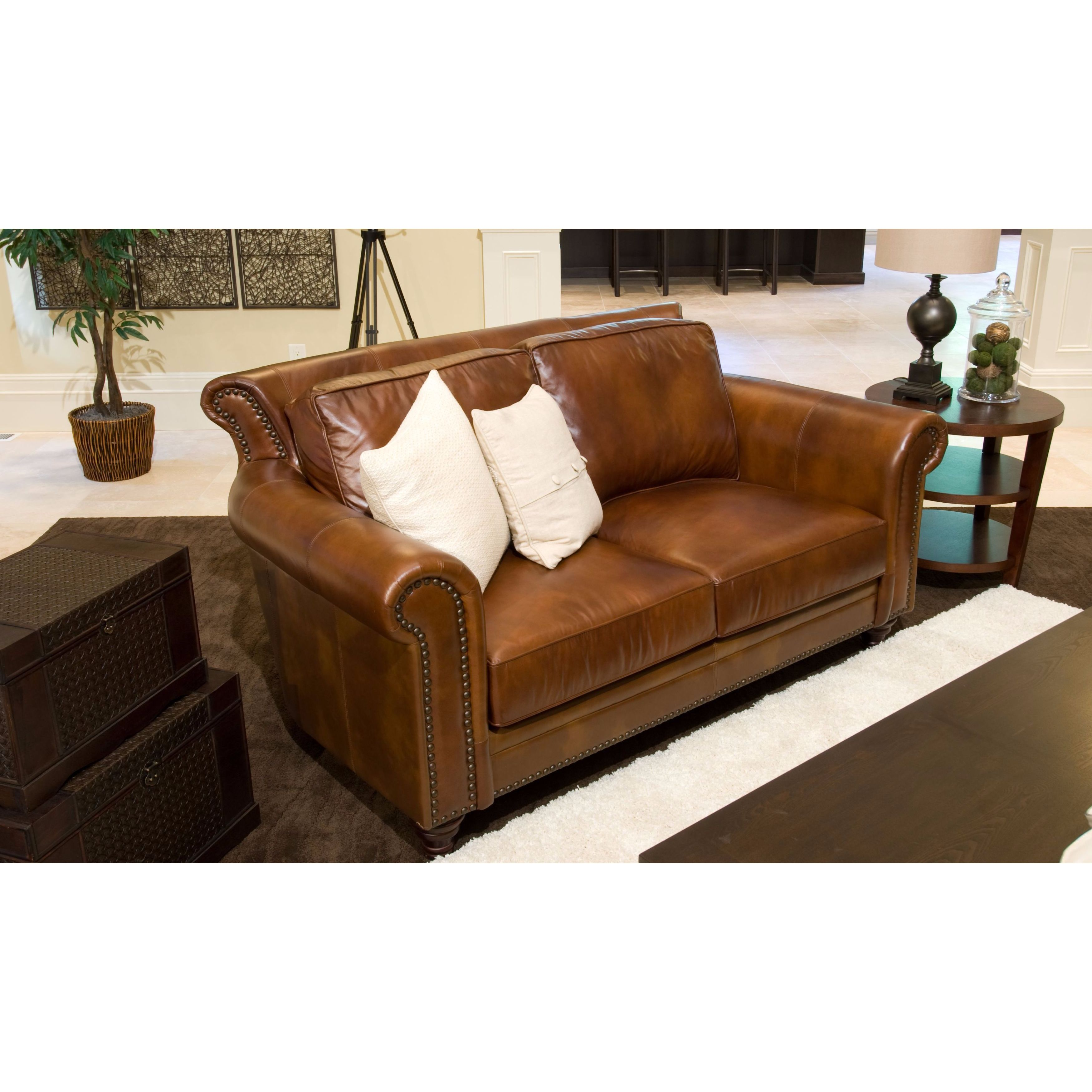 Paladia Top Grain Leather Loveseat