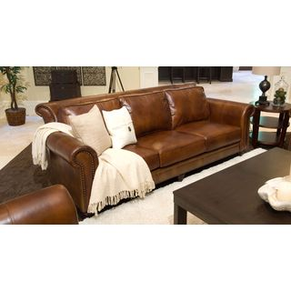 Paladia Top Grain Leather Sofa in Rustic
