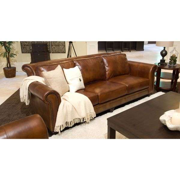 Paladia Top Grain Leather Sofa In Rustic Free Shipping Today 12687734