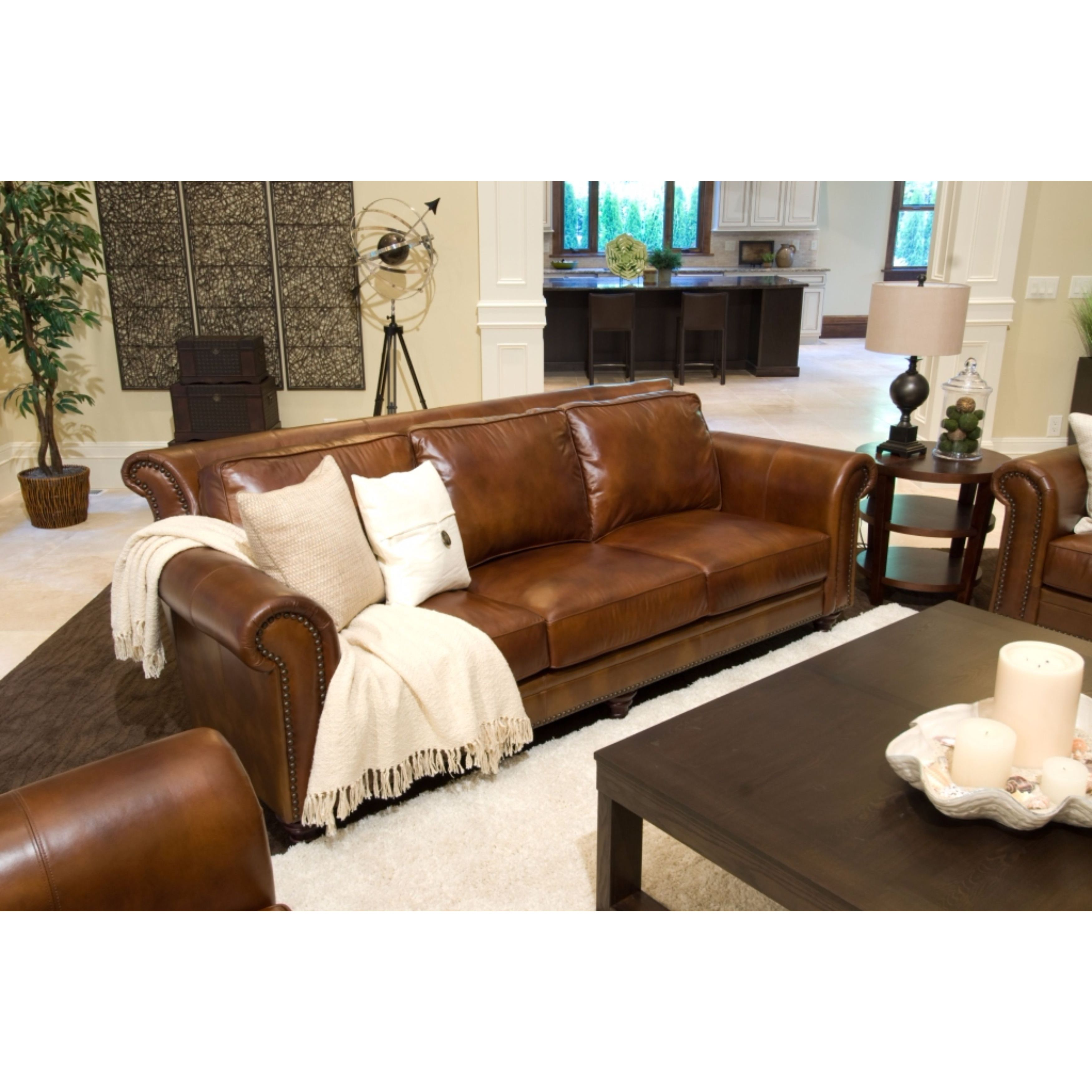 Paladia Top Grain Leather Sofa In