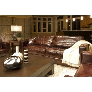 Laguna Top Grain Leather Sofa in Saddle