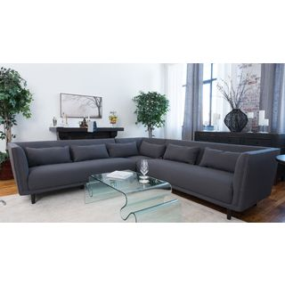 Manhattan Concrete Grey Fabric Sectional Sofa