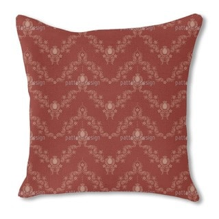 Floral Baroque Red Burlap Pillow Double Sided