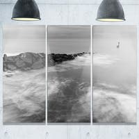 Milky Waves Splashing Over Rocks - Modern Seascape Metal Wall At - 36Wx28H
