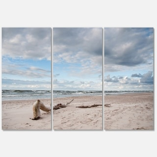 Large Piece of Wood on Beach - Modern Seascape Metal Wall At - 36Wx28H