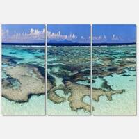 Turquoise Tropical Ocean Waters - Modern Seascape Metal Wall At - 36Wx28H