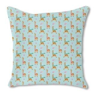 Cute Giraffe Burlap Pillow Double Sided