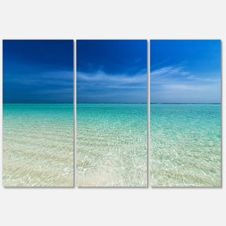 Turquoise Ocean Under Blue Sky - Modern Seascape Metal Wall At - 36Wx28H