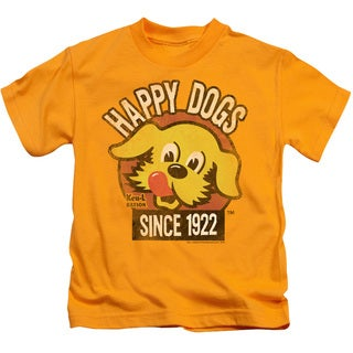 Ken L Ration/Happy Dogs Short Sleeve Juvenile Graphic T-Shirt in Gold