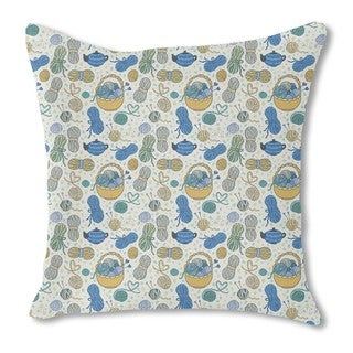 I Love Knitting Burlap Pillow Single Sided