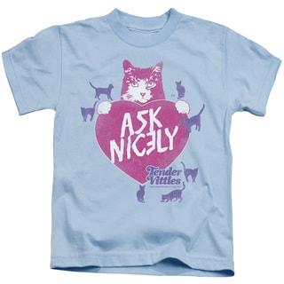 Tender Vittles/Nicely Short Sleeve Juvenile Graphic T-Shirt in Light Blue