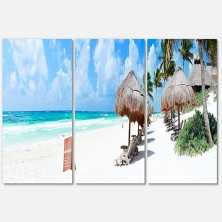 Caribbean Coast in Tulum Mexico - Modern Seascape Metal Wall At - 36Wx28H