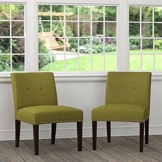 Handy Living Nate Green Linen Armless Chairs (Set of 2)