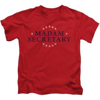 Madam Secretary/Distress Logo Short Sleeve Juvenile Graphic T-Shirt in Red