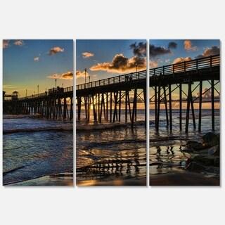 Pacific Ocean Sunset Oceanside Pier - Modern Seascape Metal Wall At - 36Wx28H