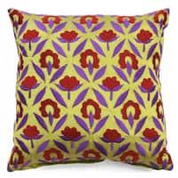 Bali Ikat Floral Cotton Throw Pillow