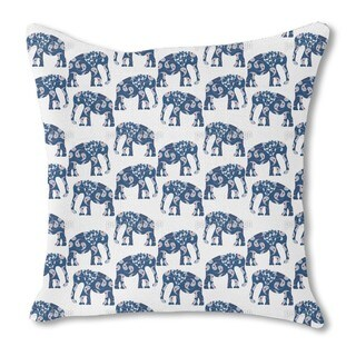 Patchwork Elephant Burlap Pillow Double Sided