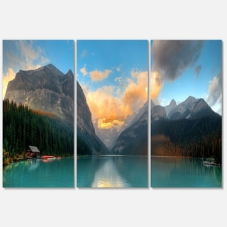 Lake Louise Sunrise Banff Park - Modern Seascape Metal Wall At - 36Wx28H