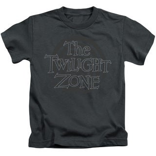 Twilight Zone/Spiral Logo Short Sleeve Juvenile Graphic T-Shirt in Charcoal