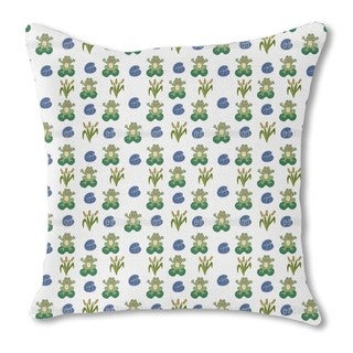 Happy Frogs Burlap Pillow Single Sided