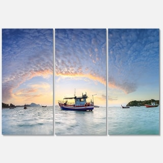 Fishing Boat at Phuket Sunrise Beach - Modern Seascape Metal Wall At - 36Wx28H