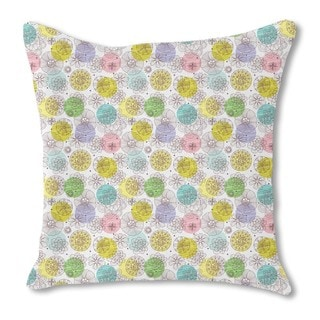 Doodle Blossoms Burlap Pillow Single Sided