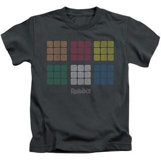 Rubik's Cube/Minimal Squares Short Sleeve Juvenile Graphic T-Shirt in Charcoal