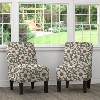 Handy Living Brodee Grey Floral Linen Armless Chairs (Set of 2)