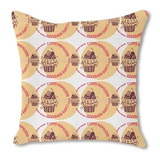 Cupcake Love Cream Burlap Pillow Double Sided