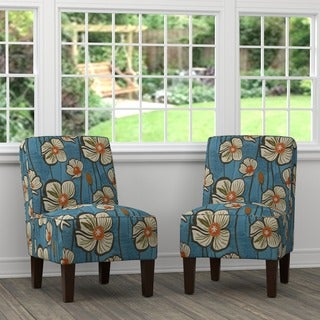 Handy Living Brodee Blue and Orange Floral Armless Chairs (Set of 2)
