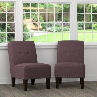 Portfolio Brodee Purple Linen Armless Chairs (Set of 2)