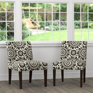 Handy Living Nate Black Medallion Armless Chairs (Set of 2)