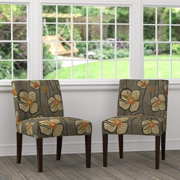 Handy Living Nate Brown And Orange Floral Armless Chairs (Set Of 2)