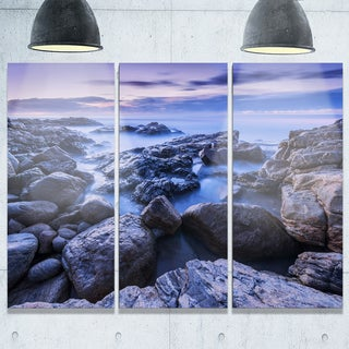 Rocky Blue Seashore in Morning - Modern Seascape Metal Wall At - 36Wx28H