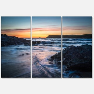 Setting Sun at Polzeath Beach - Modern Seascape Metal Wall At - 36Wx28H