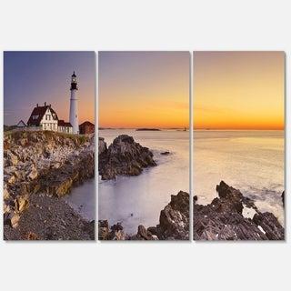 Portland Head Lighthouse Maine - Modern Seascape Metal Wall At - 36Wx28H