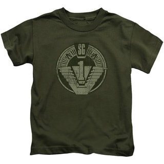 Stargate/Sg1 Distressed Short Sleeve Juvenile Graphic T-Shirt in Military Green