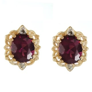 One-of-a-kind Michael Valitutti 14k Yellow Gold Rhodolite and Diamond Stud Earrings